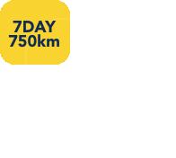 7 day or 750km return